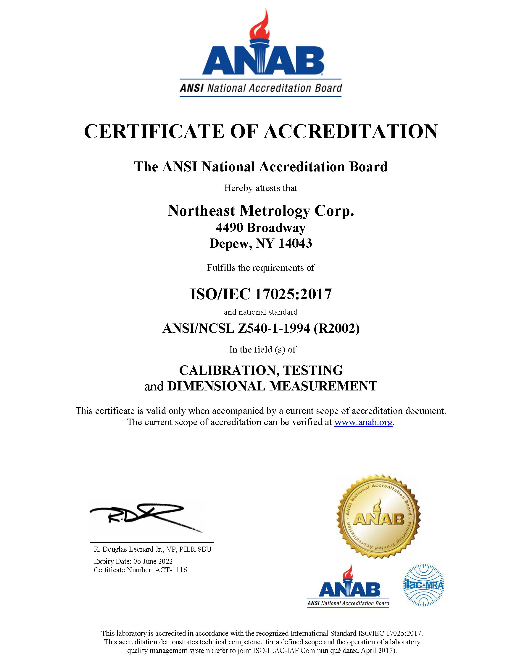 Image of Certificate of Accreditation